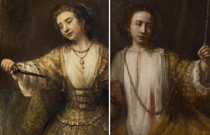 Самоубийство Лукреции. 2 версии картины Рембрандта Харменса ван Рейна.